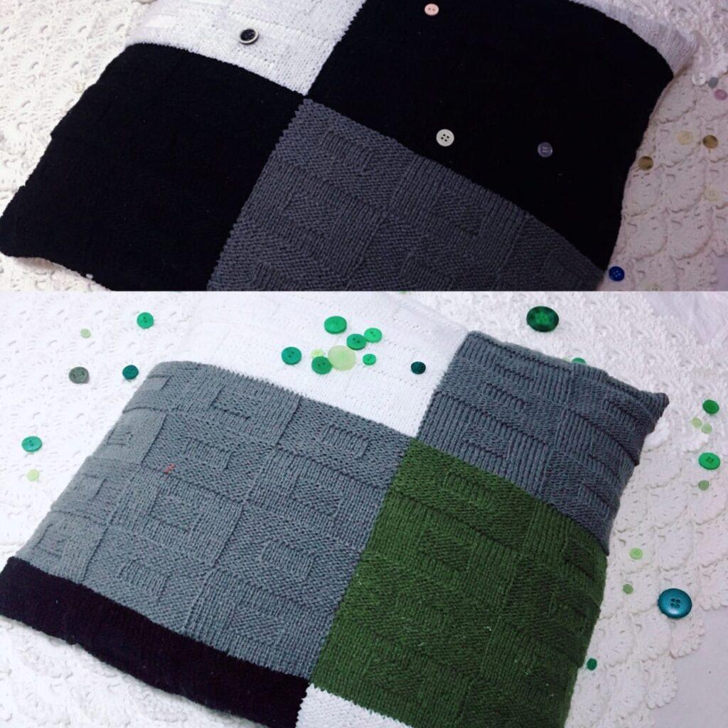 декоративная вязаная подушка спицами